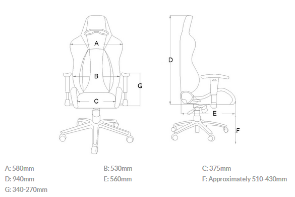 dimensions akracing premium v2
